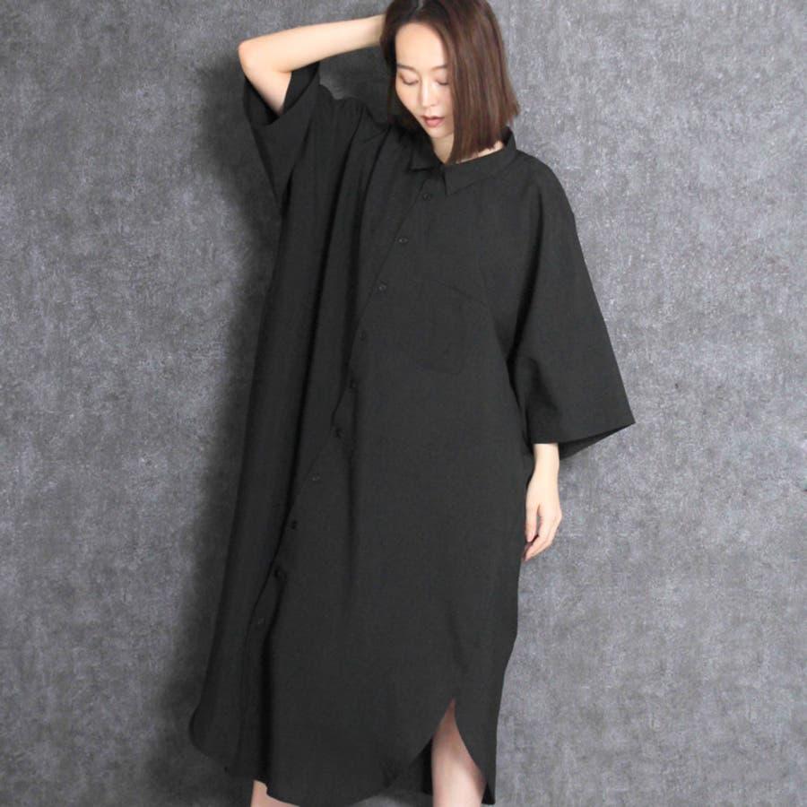 【MARTHA・Sneak】マーサ・スニーク★アシンメトリーシャツワンピース[16646] 3