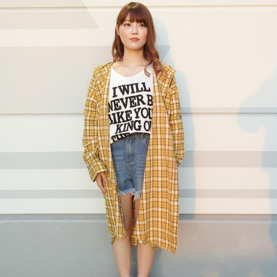 フード付チェックシャツ 5