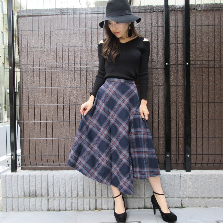 チェック柄スカート 5