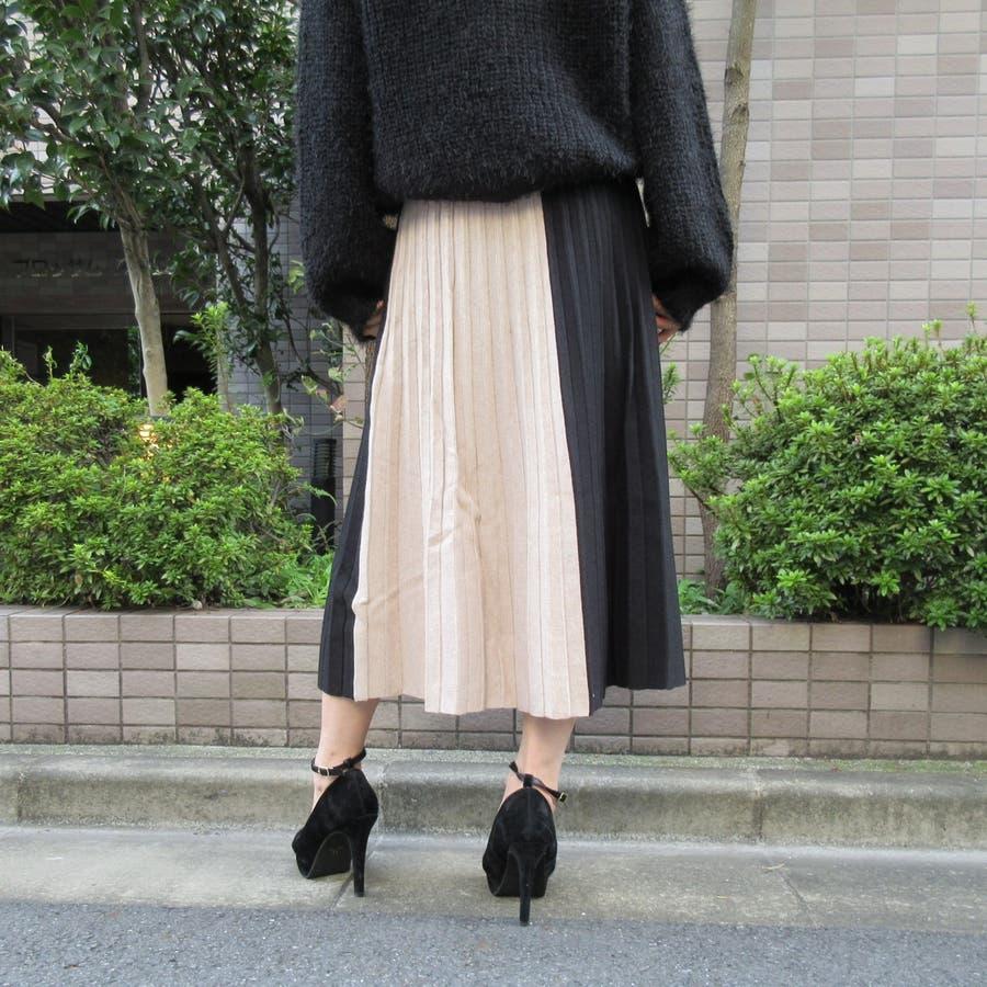 バイカラープリーツニットスカート 4