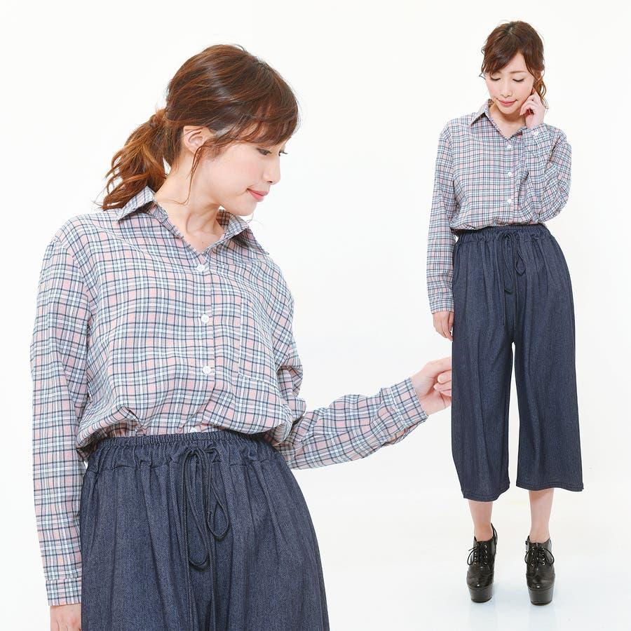 ■2019年春夏新作■ゆる スタイル チェック柄 長袖 シャツ 2