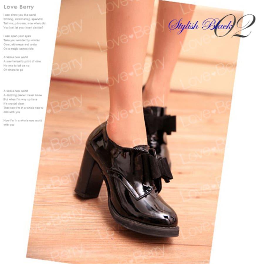 レディース 春夏 靴 エナメル リボン付き シンプル 大人かわいい 5