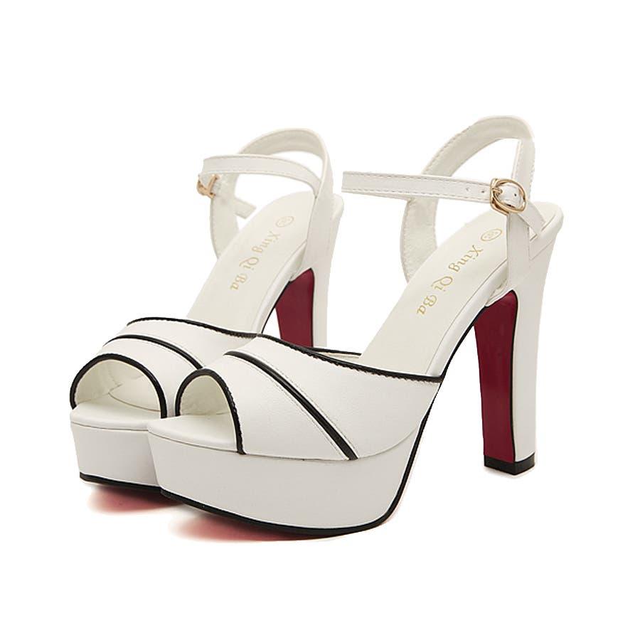 とても良かった! レディース靴 サンダル ヒール ストラップ付き 大人きれい 美脚 ホワイト ライトブルー レッドソール 嗚呼