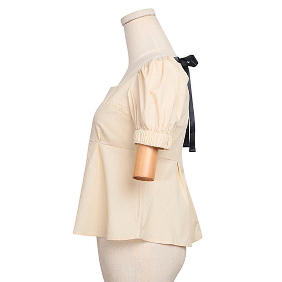 バックリボントップス ブラウス レディース 背中開きトップス バックオープン 肌見せ リボン SS 春 夏 デート 韓国 ファッション 大人 かわいい 新作 ベージュ ブラック 女の子 ショート丈 パンツスタイル スカート スキニー スタイルアップ ライン 6
