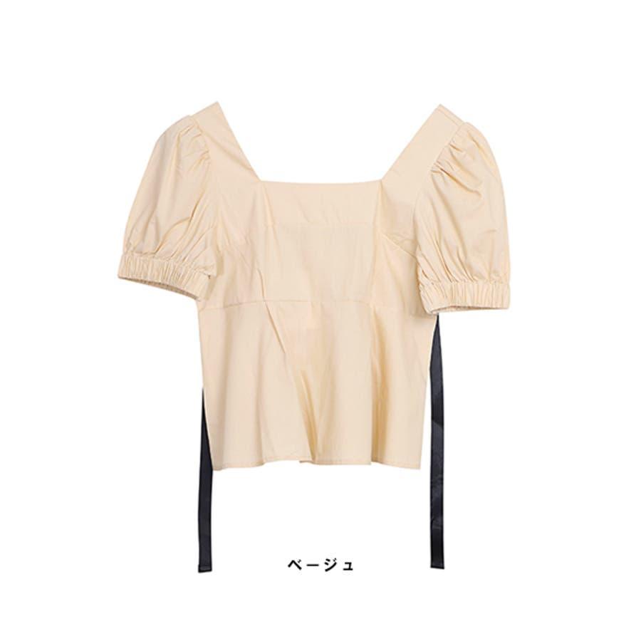 バックリボントップス ブラウス レディース 背中開きトップス バックオープン 肌見せ リボン SS 春 夏 デート 韓国 ファッション 大人 かわいい 新作 ベージュ ブラック 女の子 ショート丈 パンツスタイル スカート スキニー スタイルアップ ライン 9