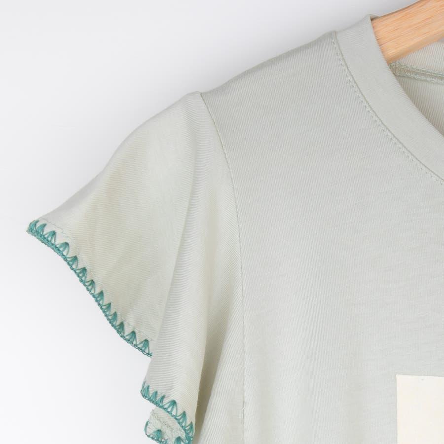 可愛いパイナップルデザインフリルトップス レーディス トップス 半袖 プリント 春夏 8