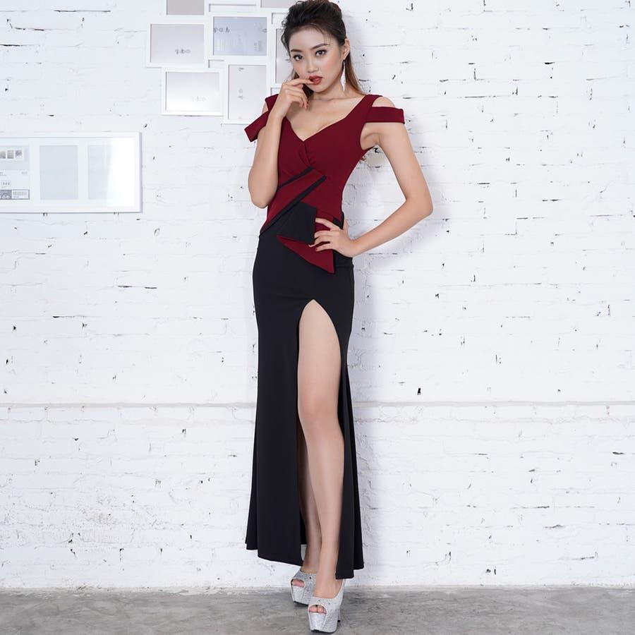 2bd992d15f2a4 3110セクシースリットバイカラーロングドレス キャバドレス ナイトドレス ...