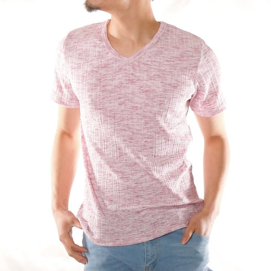 9d8ece289969c3 Tシャツ メンズ 半袖 Vネック 半袖Tシャツ テレコTシャツ カラーTシャツ カットソー. レッド