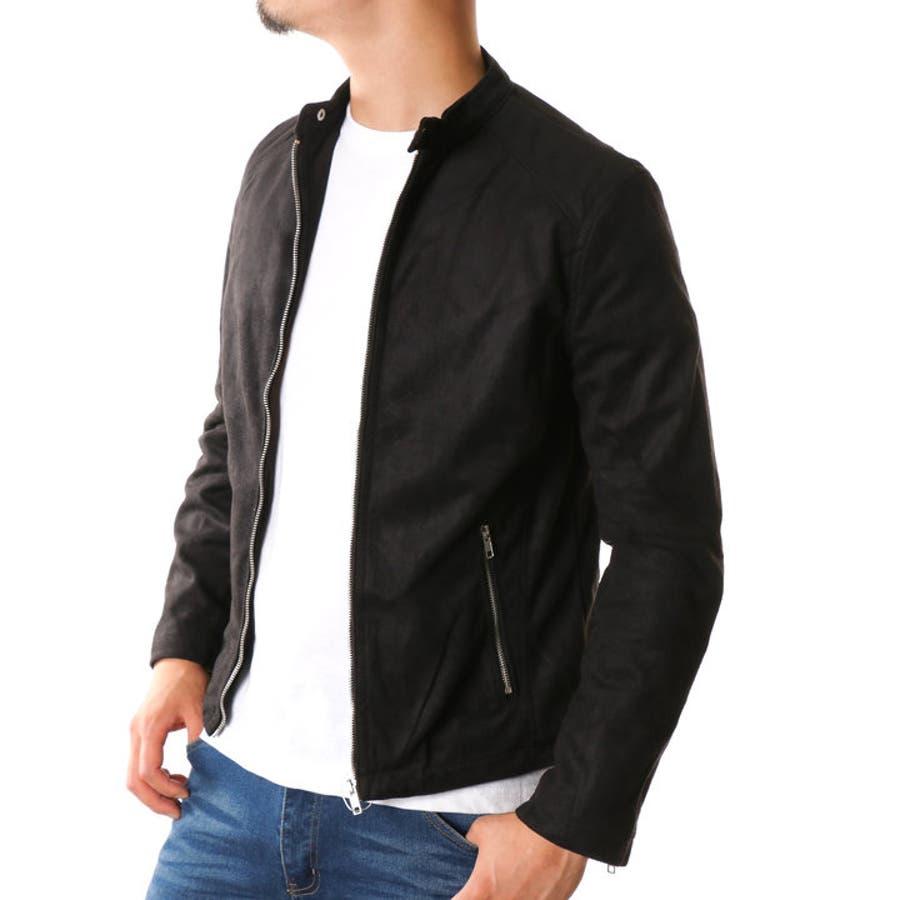 ライダースジャケット メンズ スウェード シングル シングル 黒 ...