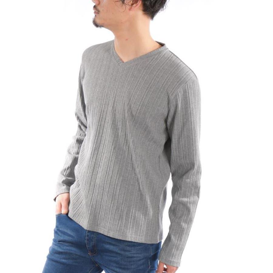 3afb6a3bf162e0 【長袖Tシャツ メンズ】 長袖Tシャツ メンズ Vネック ストレッチ テレコ 無地 白