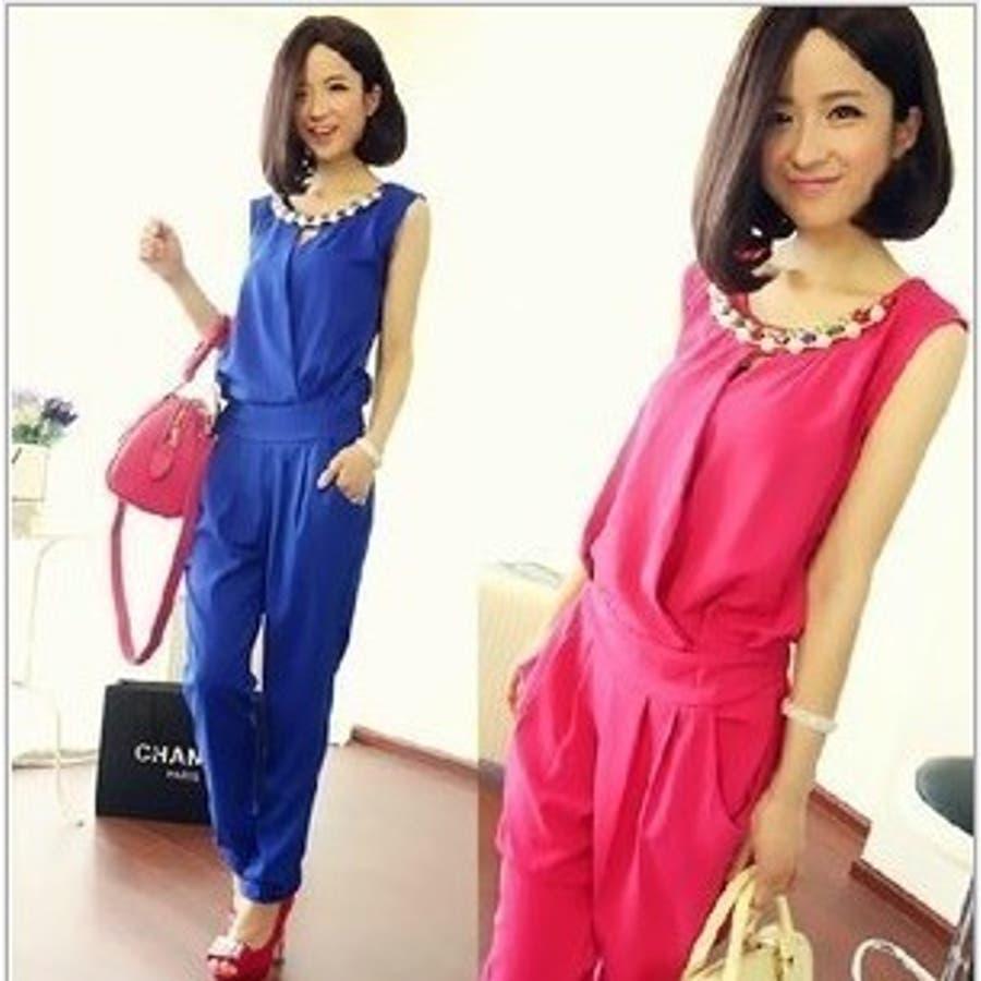 【韓国 ファッション】夏物 ノースリーブサロペットパンツ サロペット オレンジ ブルー ピンク♪