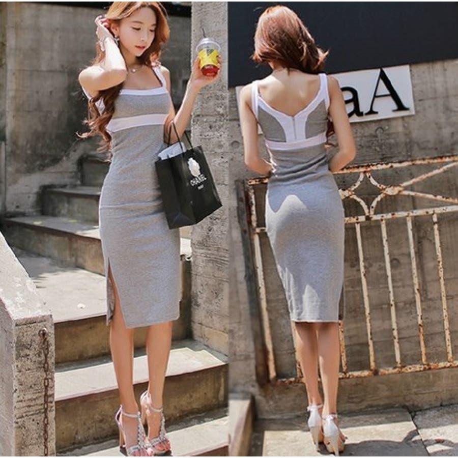 韓国ファッション 春物 深いVネックで超セクシー 2WAY着用可♪タイトワンピース セクシーワンピース 五穀