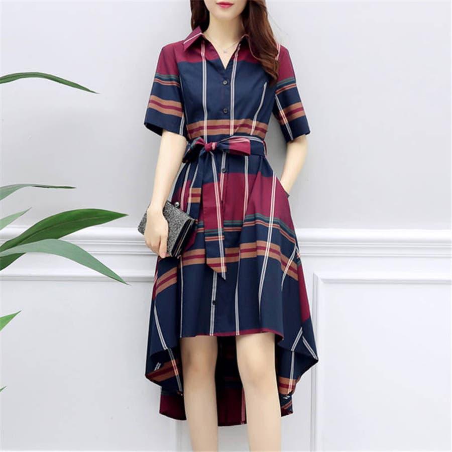 春夏 チェック柄不規則裾ワンピース 韓国ファッション 11