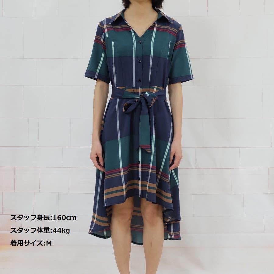 春夏 チェック柄不規則裾ワンピース 韓国ファッション 4