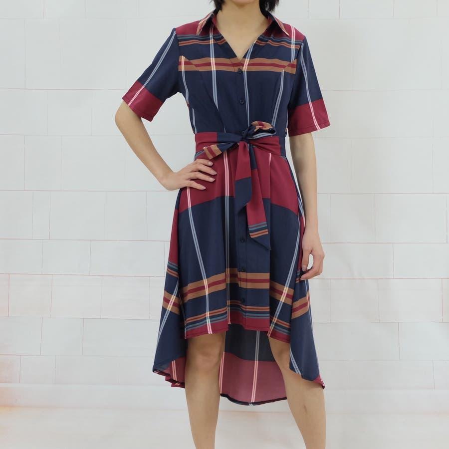 春夏 チェック柄不規則裾ワンピース 韓国ファッション 5