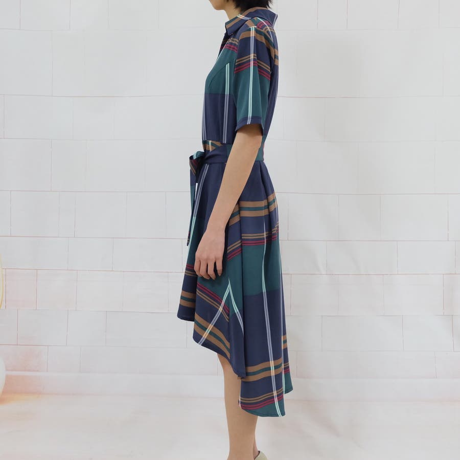 春夏 チェック柄不規則裾ワンピース 韓国ファッション 6