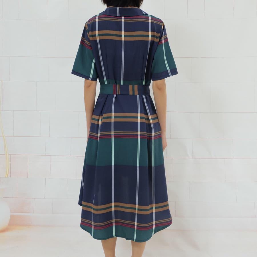 春夏 チェック柄不規則裾ワンピース 韓国ファッション 7