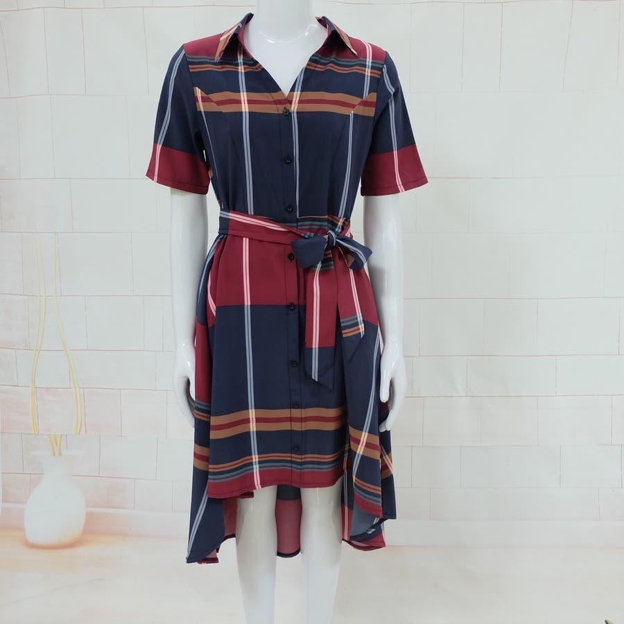 春夏 チェック柄不規則裾ワンピース 韓国ファッション 8