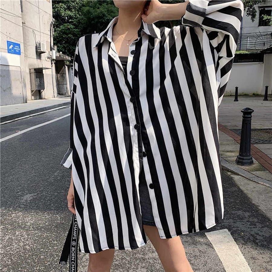 秋物 長袖ストライプ柄シャツ トップス 韓国ファッション 1