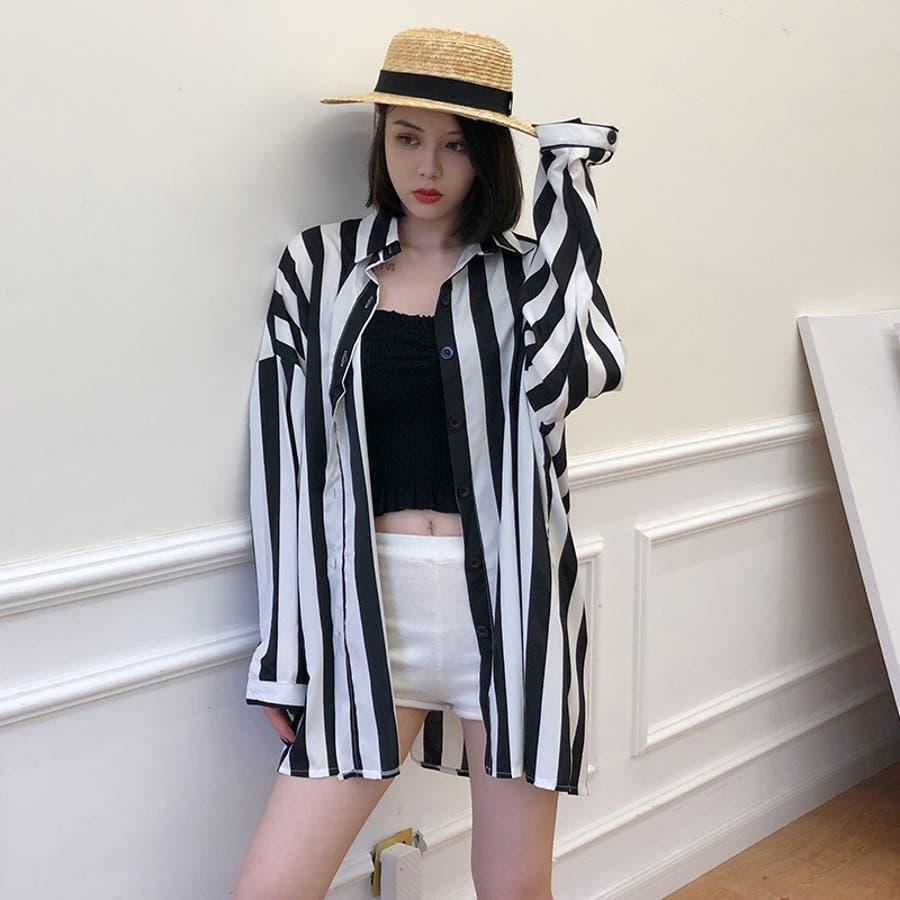 秋物 長袖ストライプ柄シャツ トップス 韓国ファッション 2