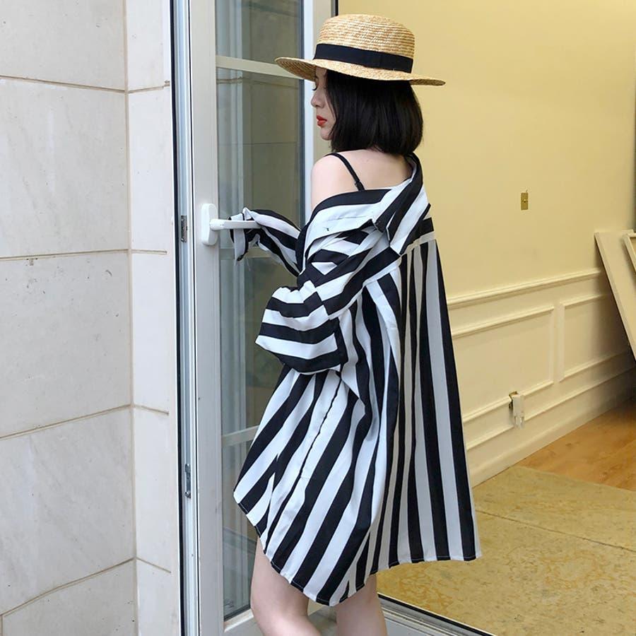 秋物 長袖ストライプ柄シャツ トップス 韓国ファッション 3