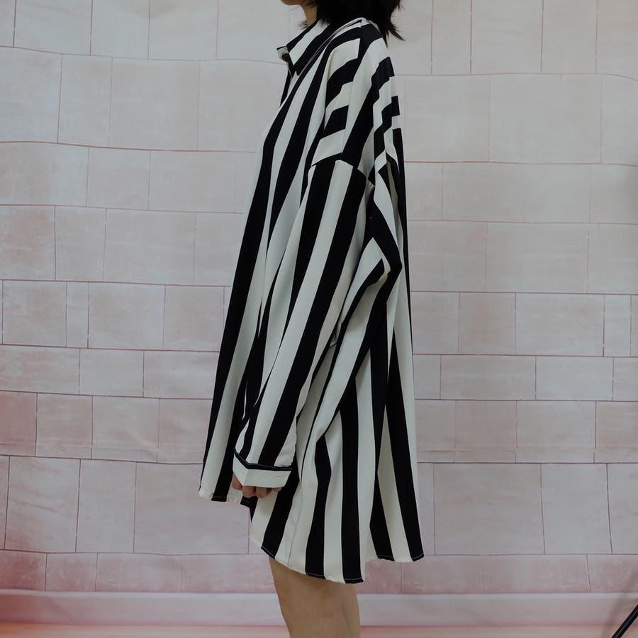 秋物 長袖ストライプ柄シャツ トップス 韓国ファッション 5