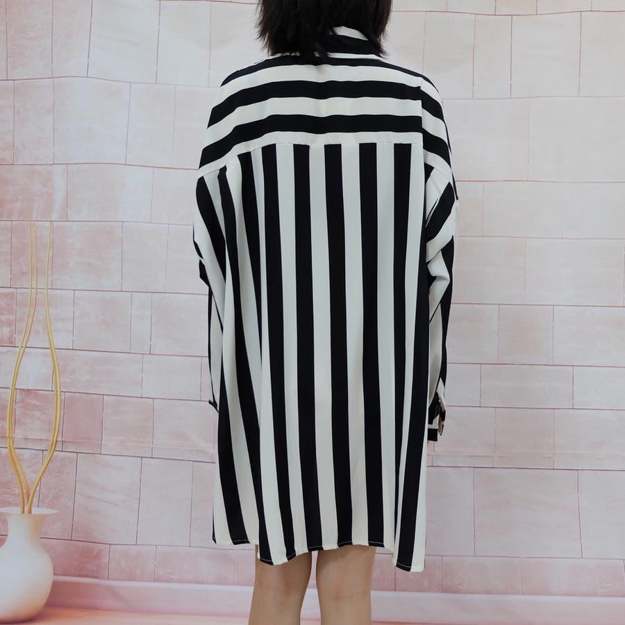 秋物 長袖ストライプ柄シャツ トップス 韓国ファッション 6