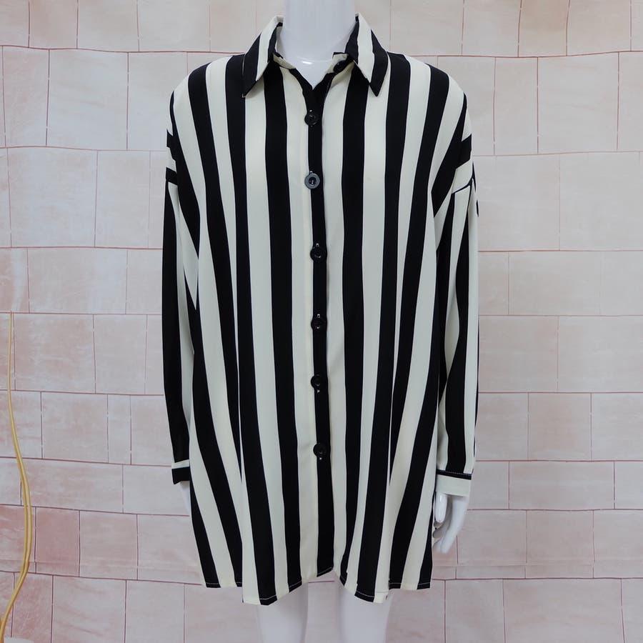 秋物 長袖ストライプ柄シャツ トップス 韓国ファッション 7