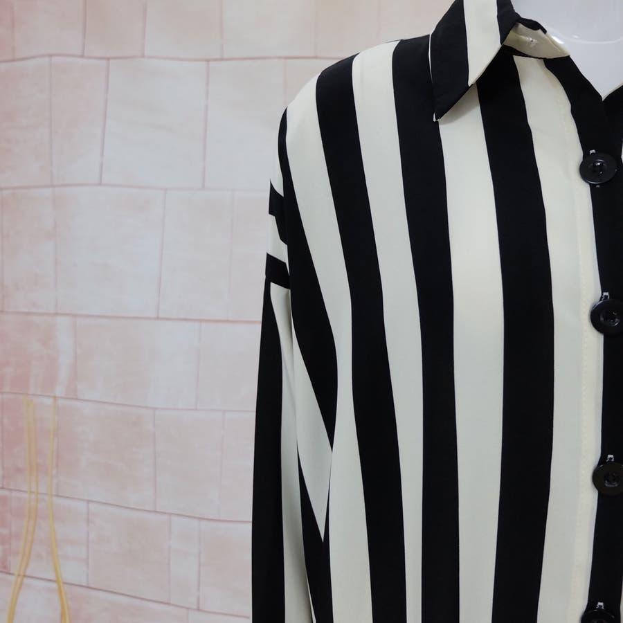 秋物 長袖ストライプ柄シャツ トップス 韓国ファッション 8