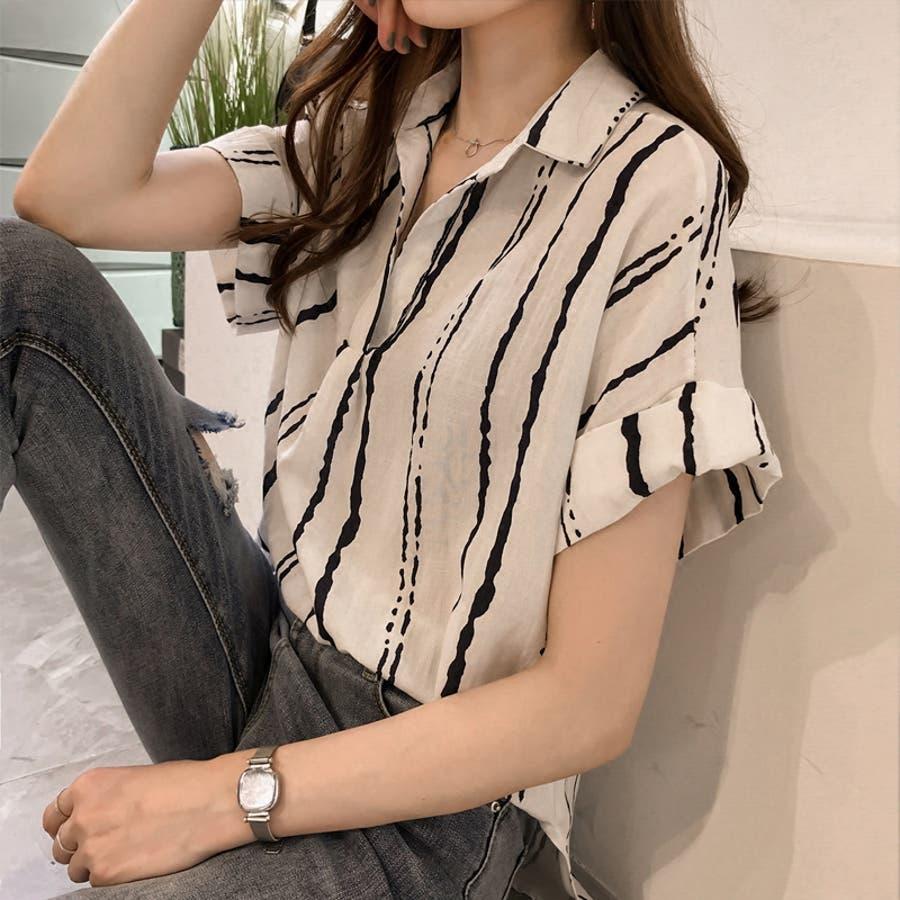 春夏新作 ストライプ シャツ トップス カットソー ブラウス ホワイト グレー イエロー 韓国ファッション 1