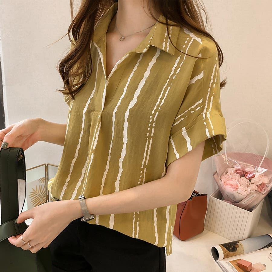 春夏新作 ストライプ シャツ トップス カットソー ブラウス ホワイト グレー イエロー 韓国ファッション 9