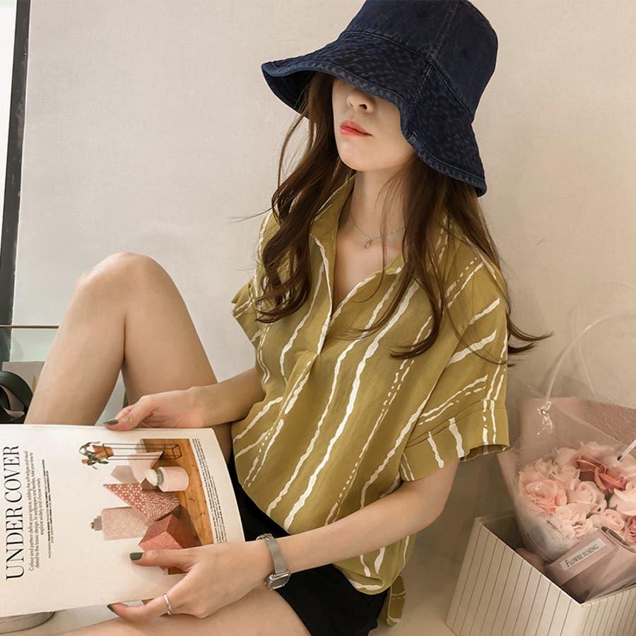 春夏新作 ストライプ シャツ トップス カットソー ブラウス ホワイト グレー イエロー 韓国ファッション 4