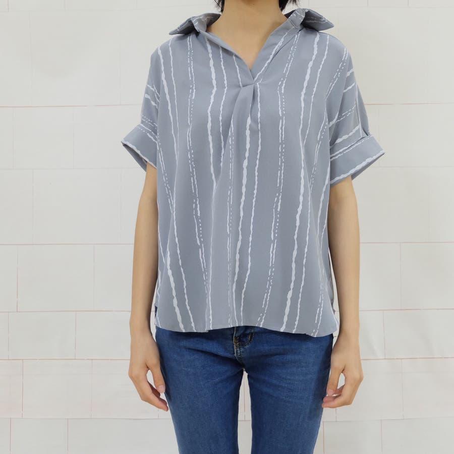 春夏新作 ストライプ シャツ トップス カットソー ブラウス ホワイト グレー イエロー 韓国ファッション 6