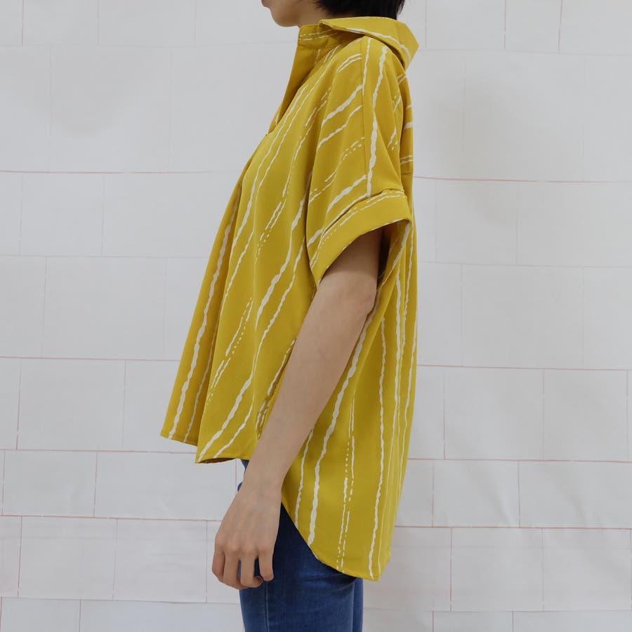 春夏新作 ストライプ シャツ トップス カットソー ブラウス ホワイト グレー イエロー 韓国ファッション 7