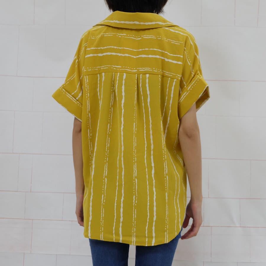 春夏新作 ストライプ シャツ トップス カットソー ブラウス ホワイト グレー イエロー 韓国ファッション 8