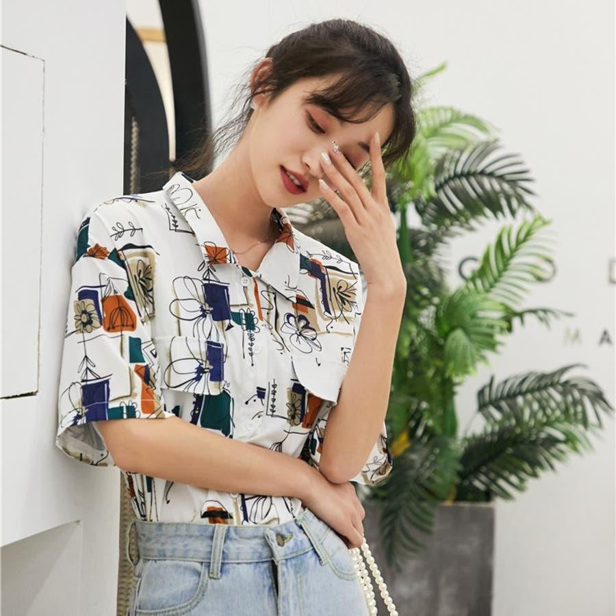 春夏新作 半袖 Tシャツ トップス カットソー 柄シャツホワイト 韓国ファッション 1