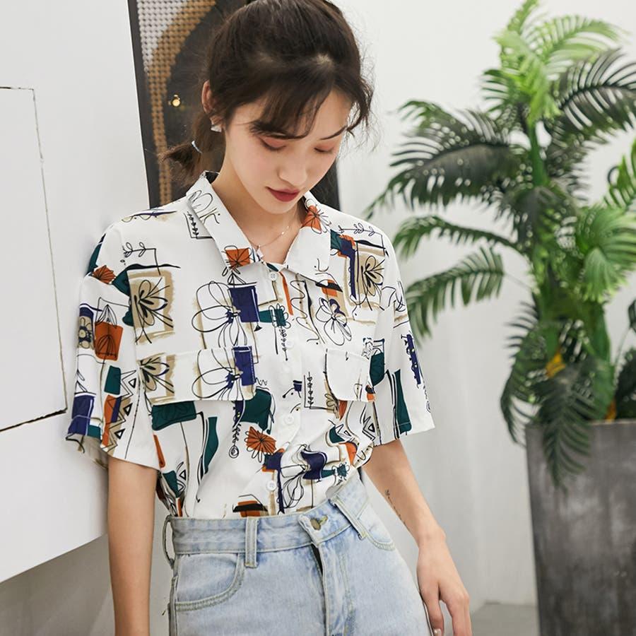 春夏新作 半袖 Tシャツ トップス カットソー 柄シャツホワイト 韓国ファッション 16