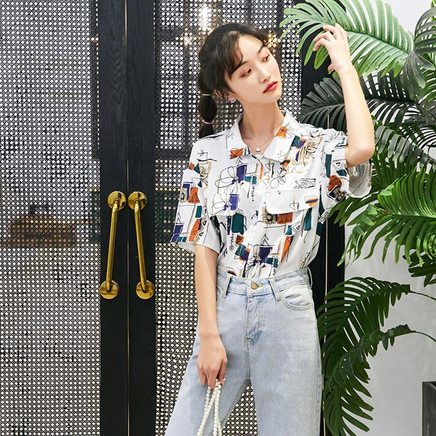 春夏新作 半袖 Tシャツ トップス カットソー 柄シャツホワイト 韓国ファッション 3