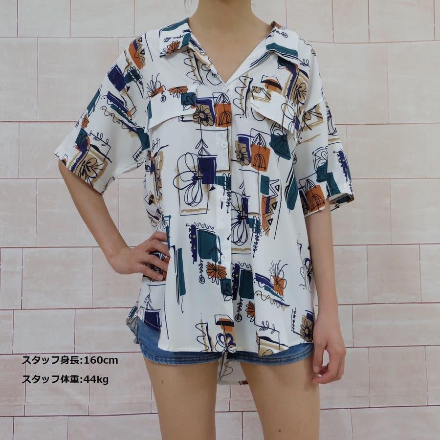 春夏新作 半袖 Tシャツ トップス カットソー 柄シャツホワイト 韓国ファッション 5