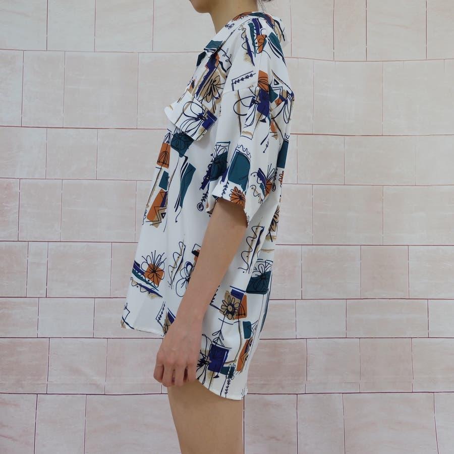 春夏新作 半袖 Tシャツ トップス カットソー 柄シャツホワイト 韓国ファッション 6