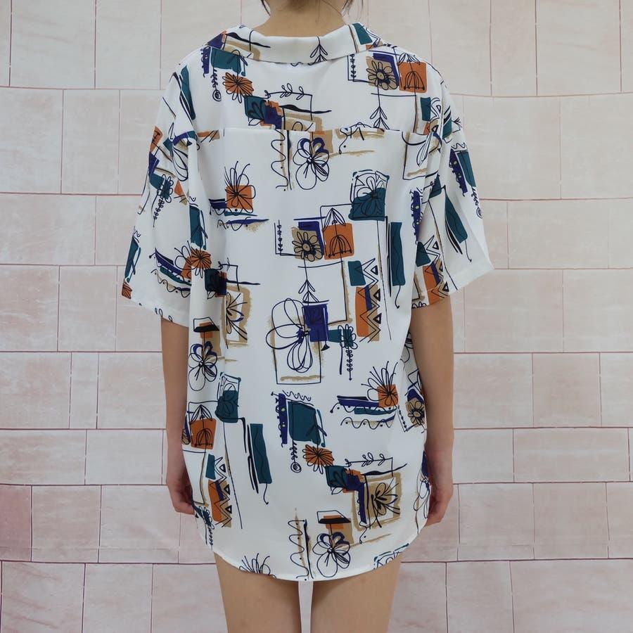 春夏新作 半袖 Tシャツ トップス カットソー 柄シャツホワイト 韓国ファッション 7