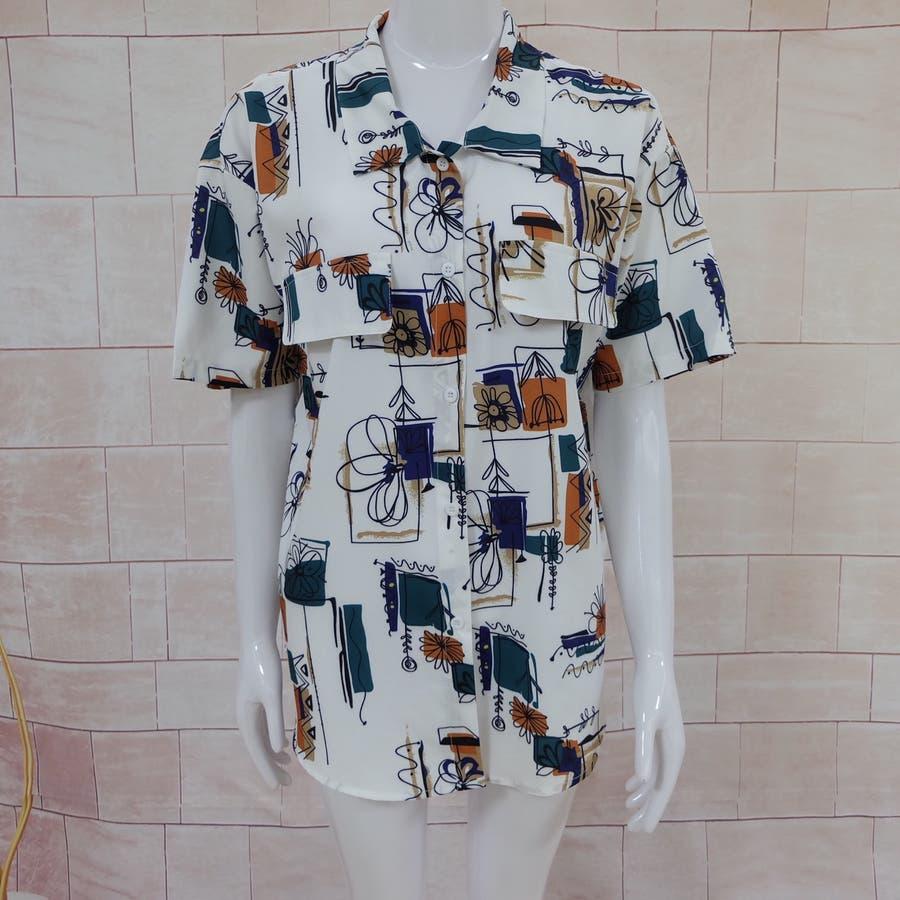 春夏新作 半袖 Tシャツ トップス カットソー 柄シャツホワイト 韓国ファッション 8