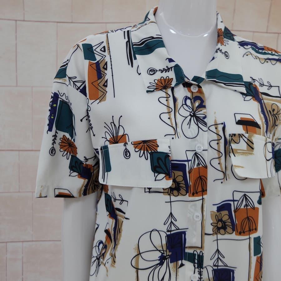 春夏新作 半袖 Tシャツ トップス カットソー 柄シャツホワイト 韓国ファッション 9