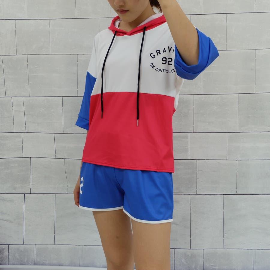 春夏物 ルームウェア カジュアルセットアップ フード付き半袖パーカ×ショートパンツ2点上下セットアップ 運動服 4