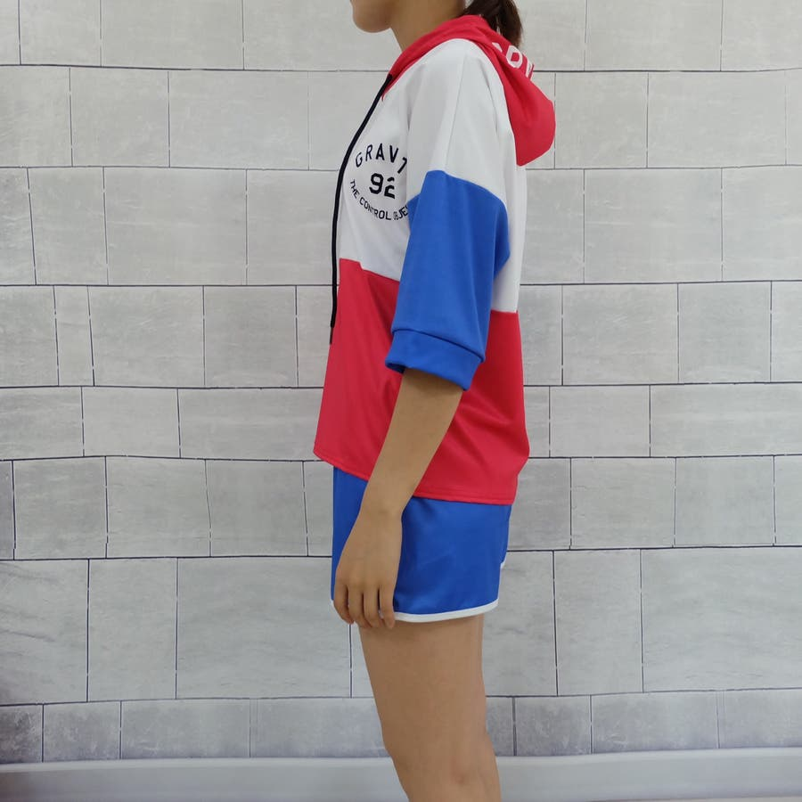 春夏物 ルームウェア カジュアルセットアップ フード付き半袖パーカ×ショートパンツ2点上下セットアップ 運動服 5