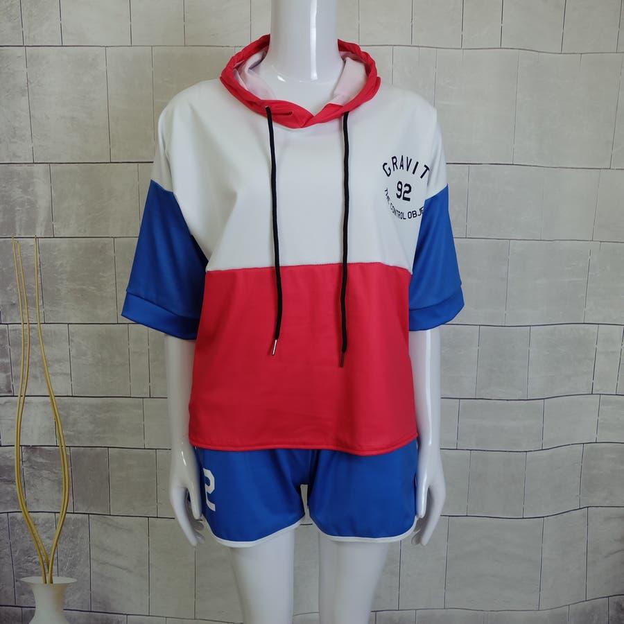 春夏物 ルームウェア カジュアルセットアップ フード付き半袖パーカ×ショートパンツ2点上下セットアップ 運動服 7