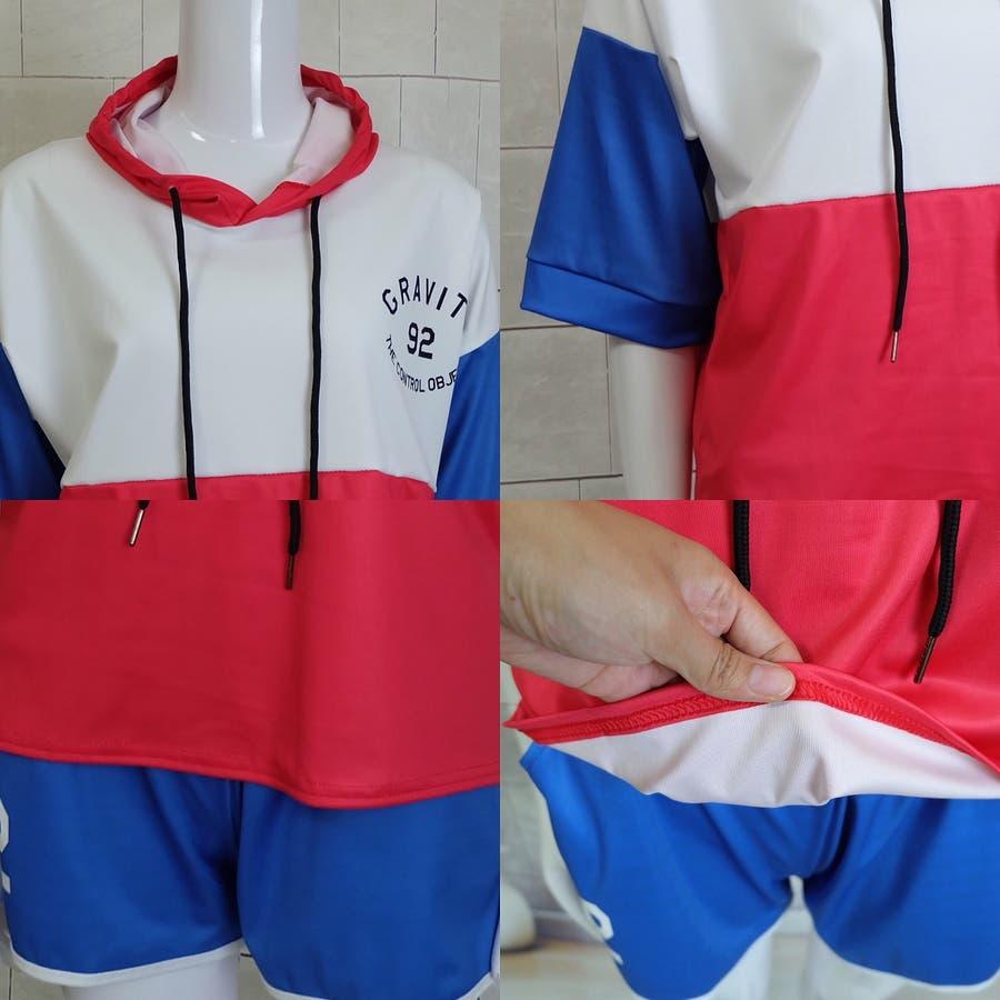 春夏物 ルームウェア カジュアルセットアップ フード付き半袖パーカ×ショートパンツ2点上下セットアップ 運動服 8