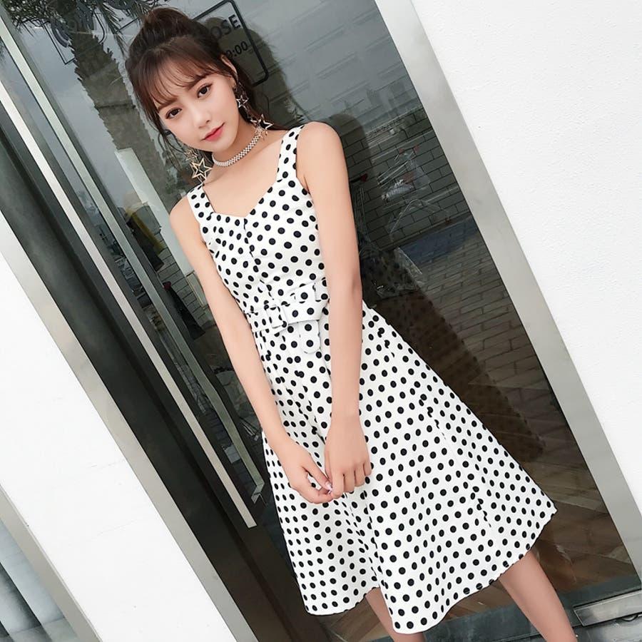 76d9c65362881 春夏物 ノースリーブドット柄セクシーワンピース 韓国ファッション 品番 ...
