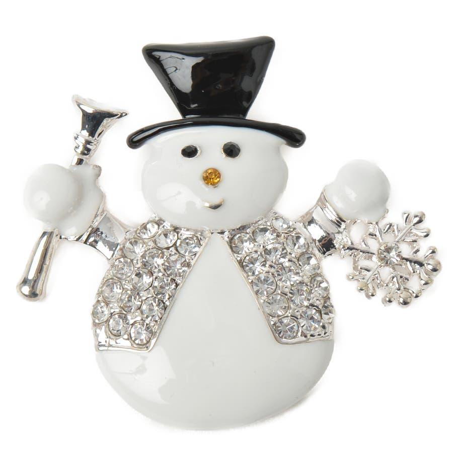 クリスマス ブローチ 雪だるま ゆきだるま スノーマン 雪 雪の結晶 シルバー プレゼント 帽子 ハット B 4
