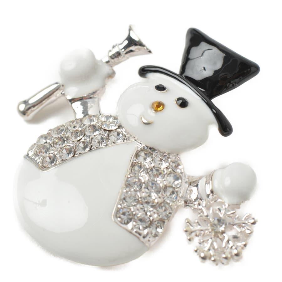 クリスマス ブローチ 雪だるま ゆきだるま スノーマン 雪 雪の結晶 シルバー プレゼント 帽子 ハット B 5